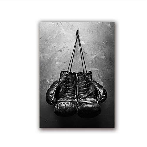 Suuyar Boxhandschuhe Vintage Foto Poster Wandkunst Leinwand Malerei Schwarz und Weiß Bild Sport Drucke für Wohnzimmer Home Wall Decor-60x80 cm Kein Rahmen