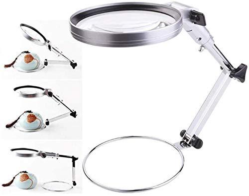 Lupa LED plegable de 4.8 pulgadas con zoom 2X de escritorio con soporte de metal manos libres lupa de lupa para lectura, reparación de pasatiempos y manualidades