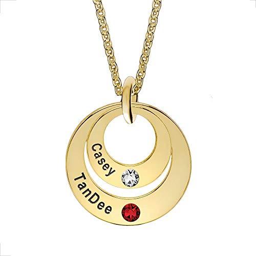 Grancey 925 Sterling Silber Familie Namenskette Runde Ring für Mutter Damen Mädchen Paare Kinder Personalisiert mit 2 bis 4 Kindernamen und Birthstones - 4 Kreis Name Halskette Rosegold