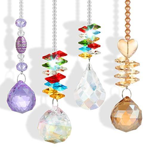 LEMESO 4 Piezas Colgante de Cristal Hogar Atrapasoles Adornos para Balcones, Piedras Decoraciones Refracción luz de Arco Iris, Regalo Ideal para Estreno de una casa