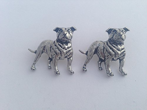 D17 Staffordshire Bull Terrier chien boutons de manchette étain anglais fait à la main à Sheffield