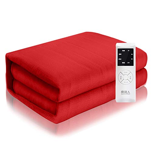 Comfort Electric Blanket Electric Heated Blanket Reversible Flannel 4 Heating Settings, Lightweight Warm Cozy, Durable Red (Size : 180 * 80cm)