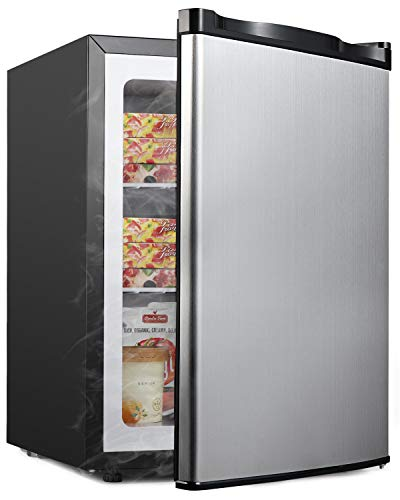Upright Freezer - Compact Reversible Single Door Table Top Mini Freezer - Free Standing Freezing Machine with Removable Shelf for Office Dorm/Living Room/Apartment (Stainless-steel, 2.1 cu.ft)