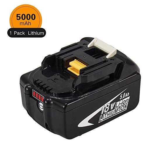 BL1850B 18V 5.0Ah Lithium Batterie de remplacement pour Makita BL1850B BL1850 BL1860 BL1860B BL1840 BL1830 BL1815 BL1835 BL1845 LXT-400 Outils électriques sans fil avec indicateur