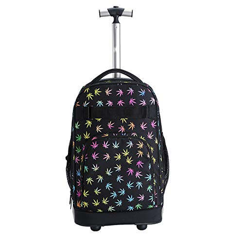 FREETT School Bag with Wheels, University Trolley Backpack with Laptop Compartment,student Trolley Bag, for Boy Child and Girl, Black, 32 * 20 * 46 cm
