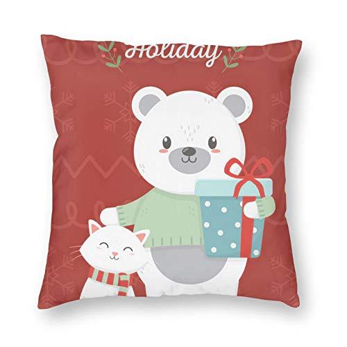 Nixboser Funda de almohada de poliéster rojo con diseño de oso polar con caja de regalo, diseño de gato con hojas de felices vacaciones, para sofá, sala de estar, cama, coche, 40,6 x 40,6 cm