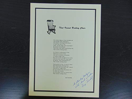 """Poet"" Ray Ruehl Signed Poem""That Vacant Rocking Chair"" Todd Mueller COA"