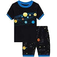 Pijama corto para niños pequeños con diseño de dinosaurio y tren de algodón PJS, 2 piezas, ropa de dormir para niños de 1 a 10 años Negro Planet Negro 9-10 Años
