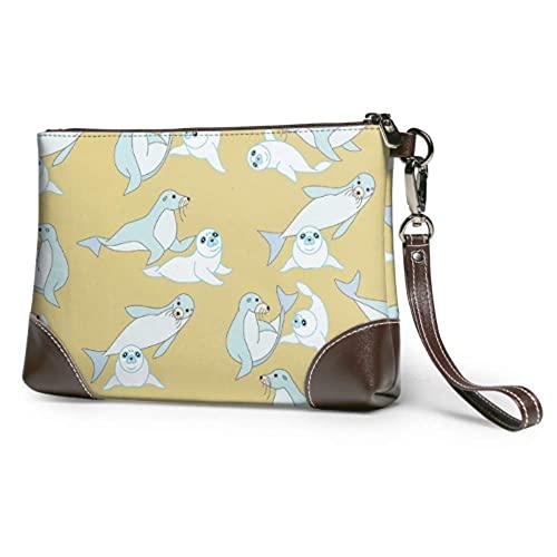Bolso de mano suave impermeable a prueba de agua, lindo bebé, león marino, muñequera de cuero con cremallera para mujeres y niñas