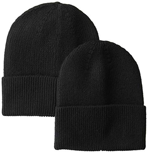Amazon Essentials Men's 2-Pack Knit Beanie Hat Black, One Size