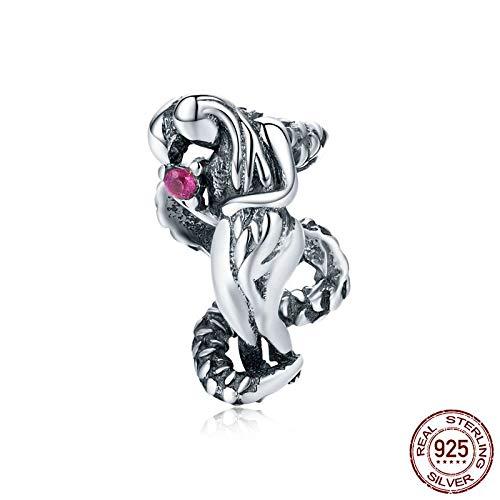 MZNSQB Echte Eva und Schlange Winzige Metallperlen Charme für Armband Armreif 925 Sterling Silber Vintage Guardian Schmuck