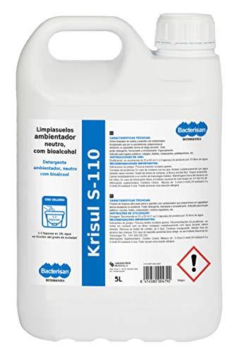 BACTERISAN Bacterisan Krisul S-110 5L  Limpiasuelos desengrasante con bioalcohol  Fraguselos concentrado con aroma floral a rosa 5000 ml