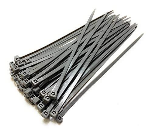 Nylon Kunststoff Kabelbinder lang und breit XL Größe Kabelbinder Schwarz und Weiss - 4.8mm x 300mm, Plastik, Silber