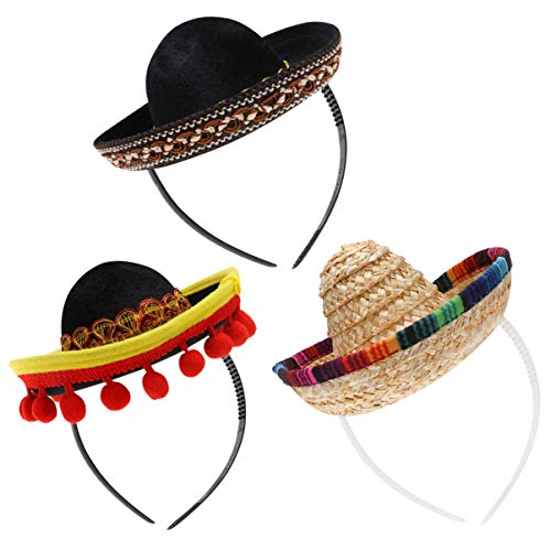 NUOBESTY 3 unids sombrero mexicano sombrero banda para el pelo sombrero de paja festiva sombrero de pelo traje mexicano para Cinco de Mayo Fiesta Espaola Mexicana decoraciones temticas