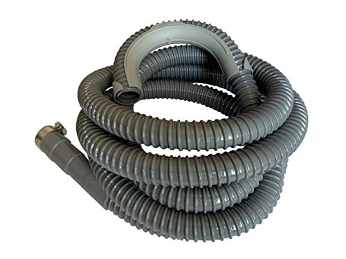 12 Ft - Universal Washing Machine Drain Discharge Hose, Zulu Supply, Heavy Duty Corrugated Rubber, Universal Size, Fits Most Washing Machine Drain Discharge Outlets, Large, XL, Extra Long, Extension