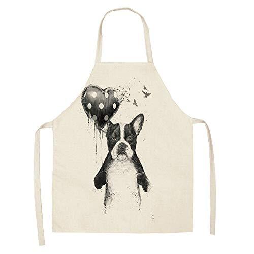 ZZXGWQ schort 1 stuk 53 x 65 cm katoen linnen bulldog hond bedrukt kookschort kookschort unisex Cena slabbetje schort grappige reiniging