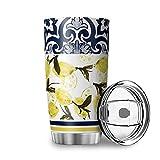 Buweirezhi Taza de viaje con diseño de azulejo de limón, 20 onzas, con labio, aislamiento al vacío, de acero inoxidable, regalo para niños y adultos, color blanco, 600 ml