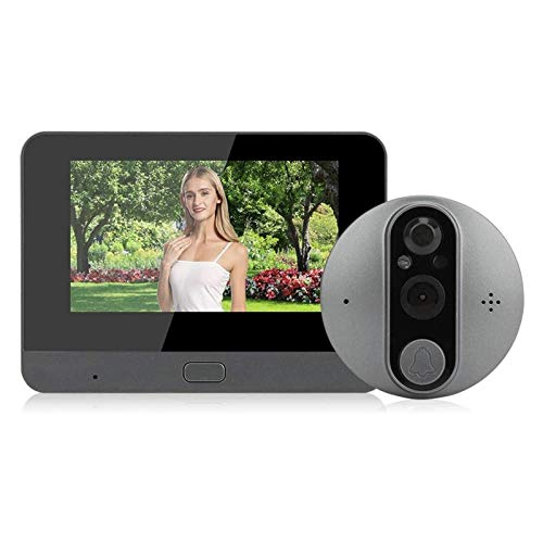 Monitor HD de 4,3 Pulgadas Y 720 P, Se Puede Conectar a WiFi Y Visión Nocturna con Intercomunicador Bidireccional, para Seguridad en El Hogar (Color : Gray, Size : 132.8x95x17mm)