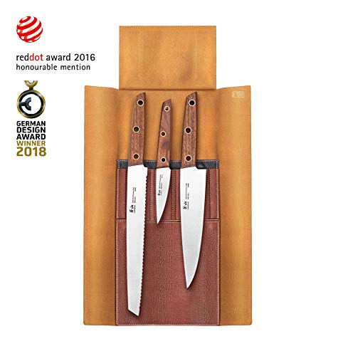 Cangshan W Series 59953 4-Piece Leather Roll Knife Set