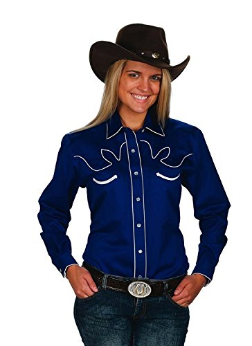 Sunrise Outlet Women's Cotton Retro Western Cowboy Shirt-Royal-Small