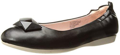 Oliva-08 de la bailarina plegable con el talón elástico y negro ornamento geométrico - Vintage - (UE 38 = US 8) - Pin Up Couture