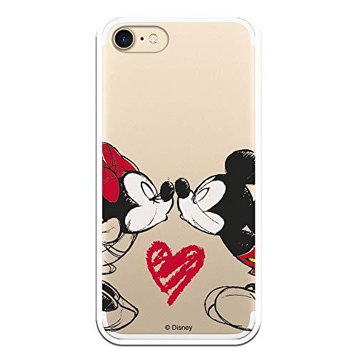 Funda para iPhone 7 - iPhone 8 - iPhone SE 2020 Oficial de Clásicos Disney Mickey y Minnie Beso para Proteger tu Móvil. Carcasa para Apple de Silicona Flexible con Licencia Oficial de Disney.