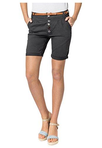 Sublevel Damen Chino Bermuda-Shorts mit Flecht-Gürtel Black L