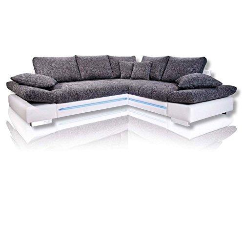 Ecksofa - weiß-silber - LED - 2-Sitzer links