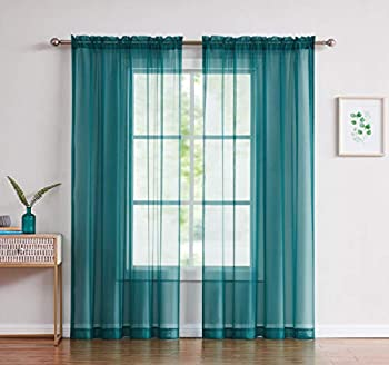 Amazing Sheer - 2-Piece Rod Pocket Sheer Panel Curtains Fabric Sheer - Voile Curtains for Window Treatment - Natural Light Flow  56  W x 108  L - Each Panel Grey Teal