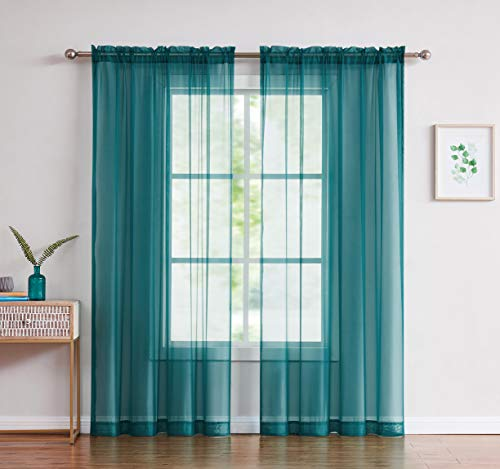 """Amazing Sheer - 2-Piece Rod Pocket Sheer Panel Curtains Fabric Sheer - Voile Curtains for Window Treatment - Natural Light Flow (56"""" W x 108"""" L - Each Panel, Grey Teal)"""