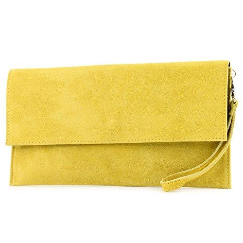 modamoda de - T151/M151 - ital. Clutch Wildleder/Leder Metallic, Farbe:Gelb