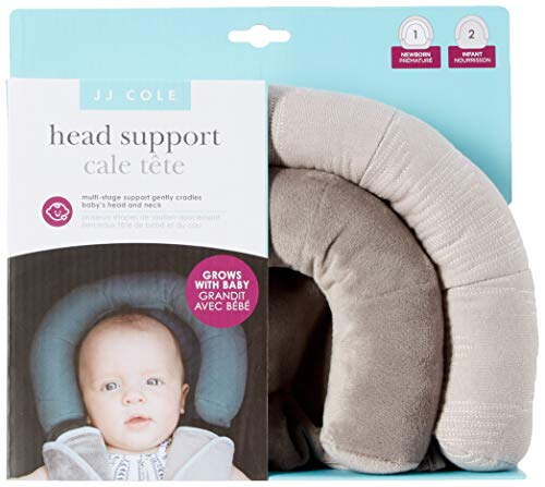 JJ Cole - Head Support, Newborn Head and Neck Support for Car Seat and Stroller, Designed to Adjust with Age, Grey Herringbone, Birth and Up