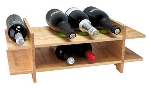 Expovinalia wijnflessenrek van berkenhout, gelakt met 2 niveaus 12/B, licht eiken, 21 x 26 x 28 cm