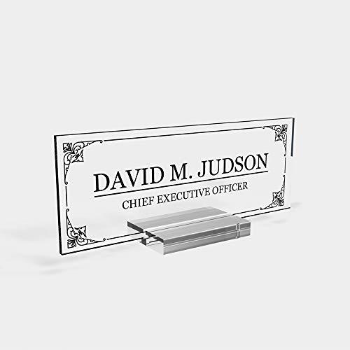 "Personalized Desk nameplate Desk Decor Men Office Acrylic Holder Office Supply Acrylic Sign Coworker Gift Teacher Secretary - Men Gift (8""x3"")"