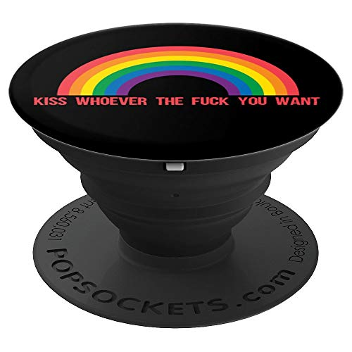 Kiss Whoever The Fuck You Want Lesbian Gay Pride LGBT 2019 PopSockets Grip and Stand for Phones and Tablets