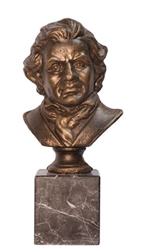 Deko Büste Ludwig Van Beethoven Statue Gußeisen Vintage 12,2x15x33cm