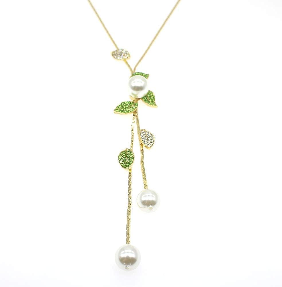 HSQYJ Y-Shaped Necklace Bohemian Crystal Pearl Flower Leaf Dangle Long Necklace Fashion Elegant Tassel Sweater Chain Women Girl Jewelry