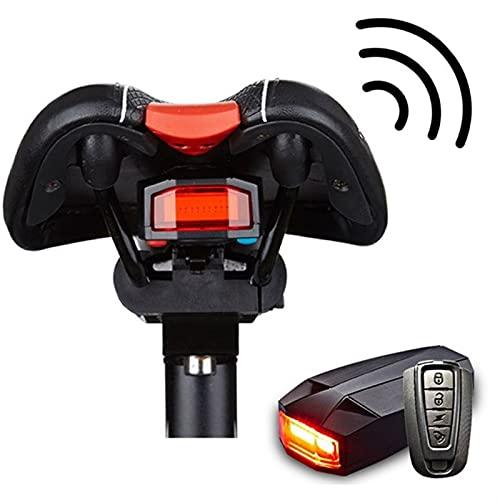 Luz trasera de la bicicleta + alarma antirrobo USB Control remoto inalámbrico de carga DIRIGIÓ Lámpara trasera Bike Lantern Horn Sirena Advertencia 820 ( Color : Black , Size : 8.8cm x 4.5cm x 2cm )