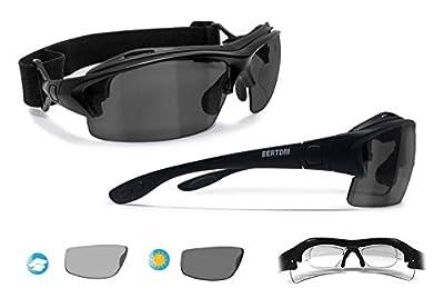 Bertoni Prescription Sport Polarized Sunglasses – Photochromic Polarized Lenses - Sport Goggles with Optical Clip for Prescription - Interchangeable Arms/Strap P399AFT - Matt Black