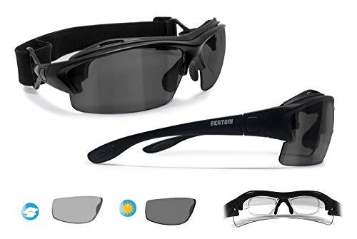 BERTONI Sportbrille mit Sehstärke für Brillenträger mit Photochromen Polarisierten UV Schutz Gläsern - mit Austauschbare Bügel oder Kopfband - P399AFT Italy Photochrome Polarisierte Gläser