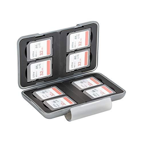 PROfezzion Multi Memory Card Hülle Speicherkarten Schutzbox für 8 x SD SDHC SDXC Karten - Wasserdicht & Stoßfest Box Safe Tasche (Hellgrau)