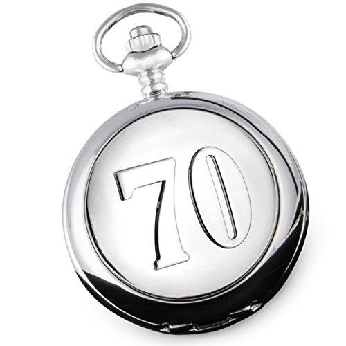 Taschenuhr zum 70. Geburtstag von De Walden, für Herren, hochwertiges Geschenk in Geschenkbox mit Seidenfutter.
