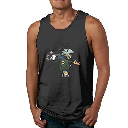JacobCloe Oklover FLCL Anime Adult Man Cool Tank Top for Summer, Mans Muscle Tank Top for Workout & Training Black