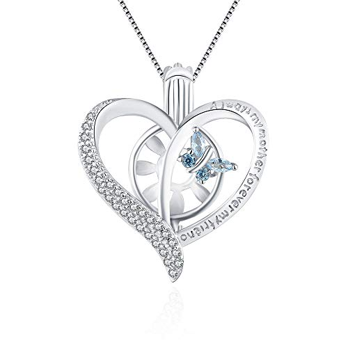 Cerylle Bule CZ Butterfly Cage Pendant for Women Sterling Silver, Heart Design Pearl Cage Pendant for DIY Pearl Jewelry Making Fashion Gift
