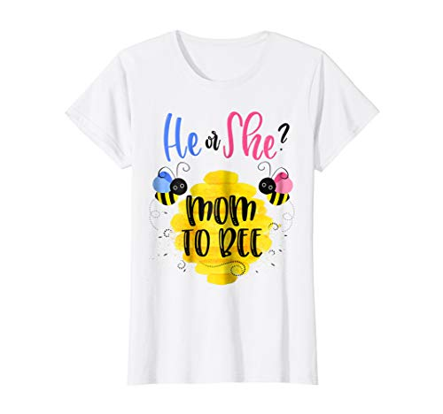 Womens Gender Reveal What Will It Bee Shirt He or She Mom T-Shirt