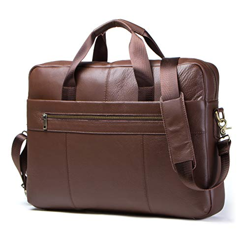 Contacts 15.6 Inch Briefcase Real Leather XL Teacher Bag with Laptop Compartment Large Shoulder Bag Vintage Trolley Attachable Crossbody BagBrown