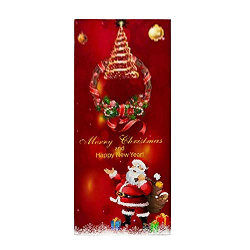 CXZC Alfombra de Navidad antideslizante con impresión navideña en 3D, para salón, cocina, baño, alfombra de Papá Noel y ciervo, árbol de Navidad, muñeco de nieve