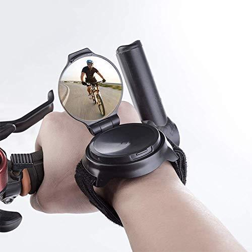 Zueyen Espejo retrovisor de gran angular para ciclismo, bicicleta, espejo de visión trasera y espejo retrovisor de 360 grados, ajustable, para ciclismo, brazo de desgaste, unidad de espejo retrovisor