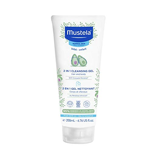 Mustela Baby 2-in-1 Cleansing Gel - Baby Body & Hair Cleanser - with Natural Avocado - Biodegradable Formula & Tear-Free - 6.76 fl. oz.