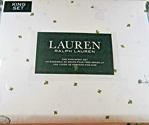 Lauren 4 Piece King Size Sheet Set Bumblebees,Flowers and Hives 100% Cotton